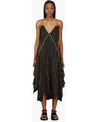 Chloé Black and Gold Chain_trimmed Herringbone Dress - Lyst