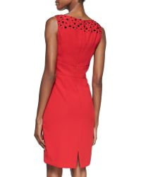 Ml Monique Lhuillier Embellished Vneck Cocktail Dress - Lyst