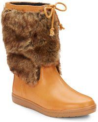 Ellen Tracy Lizzie Faux Fur Trimmed Boots - Lyst