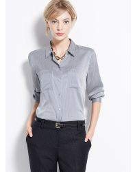 Ann Taylor Striped Crepe Button Down Blouse - Lyst