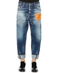 DSquared2 Workwear Denim Jeans With Leather Patch - Lyst
