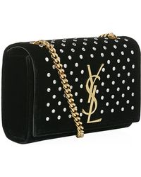 Saint Laurent Small Velvet Monogramme Satchel - Lyst