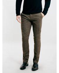 Topman Brown Textured Skinny Fit Suit Dress Pants - Lyst
