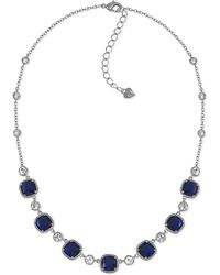 Carolee - Silver-tone Blue Stone And Crystal Frontal Necklace - Lyst