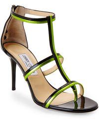 Jimmy Choo Black & Lime Tale T-Strap Sandals - Lyst
