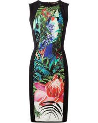 Roberto Cavalli Jungle Print Fitted Dress - Lyst