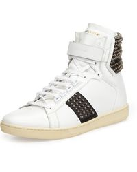 Saint Laurent Studded Leather High-Top Sneaker - Lyst