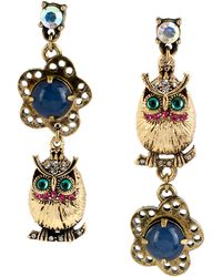 Betsey Johnson Owl and Flower Mismatch Linear Earrings - Lyst