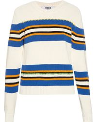 MSGM | Striped Intarsia Cotton Sweater | Lyst