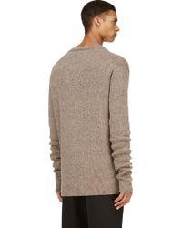 Haider Ackermann Beige Mohair Oversized Crewneck Sweater - Lyst