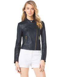 Michael Kors Michael Asymmetric Leather Moto Jacket - Lyst
