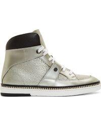 Jimmy Choo Silver Leather High_top Barlowe Sneakers - Lyst