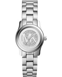 Michael Kors Petite Silver Color Stainless Steel Runway Threehand Glitz Watch - Lyst