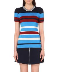 Sandro Striped Knitted T-Shirt - Lyst