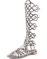 Stuart Weitzman Aphrodite Embossed Leather Sandals - Lyst