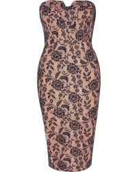 River Island Pink Lace Bandeau Pencil Dress - Lyst