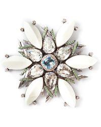 Lanvin Crystal Embellished Floral Brooch - Lyst