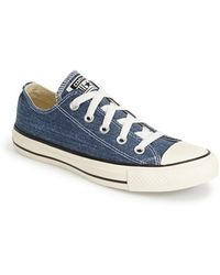 Converse Chuck Taylor All Star Washed Canvas 'Ox' Sneaker blue - Lyst
