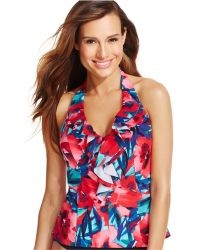 INC International Concepts - Printed Ruffled Tankini Top - Lyst
