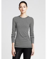 Banana Republic Striped Ruched Tee - Lyst