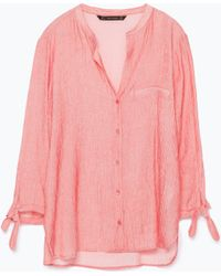 Zara Striped Blouse With Tie-Sleeves - Lyst