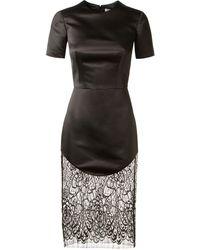 Lover Black Satin Dress - Lyst