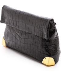 Golden Lane Black Crocodile Small Duo Clutch Black - Lyst