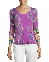 Etro - 3/4-sleeve Botanical-print Sweater - Lyst