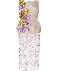 Giambattista Valli Embellished Floralprint Silk Peplum Dress - Lyst