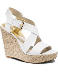 Michael Kors Giovanna Leather Espadrille Wedge Sandal - Lyst