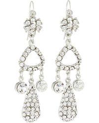 Jose & Maria Barrera | Silvertone Crystal Triple-drop Earrings | Lyst