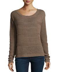 Halston Heritage Textured-stripe Boxy Crop Sweater - Lyst
