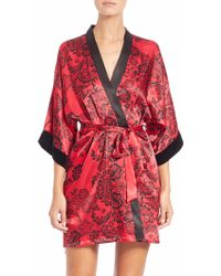 In Bloom | Printed Satin Wrap Robe | Lyst