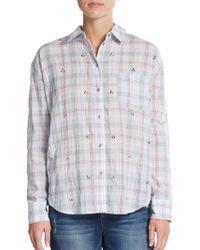 Elizabeth And James Jewel-Embellished Plaid Shirt - Lyst