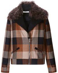 Rodarte Plaid Wool Jacket with Shearling Collar - Lyst