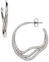 Nadri Atmos Pave Hoop Earrings - Lyst