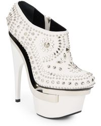 Versace Studded Leather Floating Platform Booties - Lyst