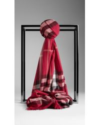 Burberry Check Wool Silk Gauze Scarf - Lyst