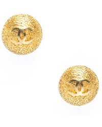 Chanel Preowned Gold Cc Button Clip On Earrings - Lyst
