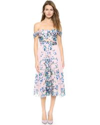 Lela Rose Floral Pleat Dress - Blush - Lyst
