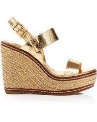 Lauren by Ralph Lauren Espadrille Platform Wedge Sandals - Serana Metallic Snakeskin - Lyst