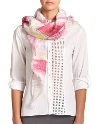 Elie Tahari Hilary Linen-Blend Print Scarf pink - Lyst