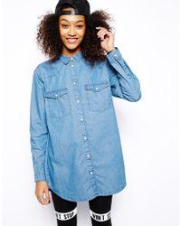 Monki Oversize Denim Shirt - Lyst