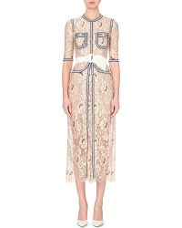 Alessandra Rich Contrast-Trimmed Lace Dress - For Women - Lyst