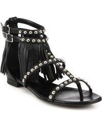 Saint Laurent Studded Leather Fringe-Trimmed Sandals - Lyst