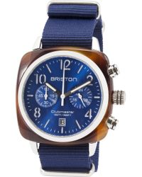 Briston - Clubmaster Classic Acetate Hour Minute Seconds Blue And Sterling Silver Watch - Lyst