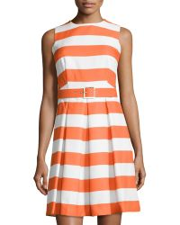 Chetta B Orange Fit-And-Flare Dress - Lyst