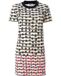 Sonia by Sonia Rykiel Flower-Print Striped T-Shirt Dress - Lyst