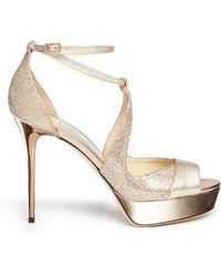 Jimmy Choo 'Victor' Glitter Lamé Mirror Leather Sandals - Lyst