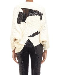 Junya Watanabe Cableknit Patchwork Cape Sweater - Lyst